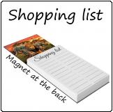Shopping list with magnet