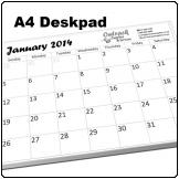 A4 Deskpad, 12 pages with backing board, BW