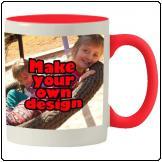 Printed Red inner white mug with same print