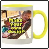 Printed Yellow inner white mug with print