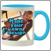 Printed Sky blue inner white mug with print