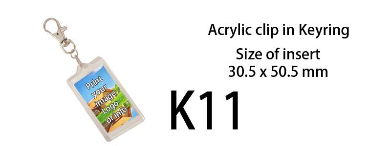 Printed Acrylic Keyring (30mm X 50mm)