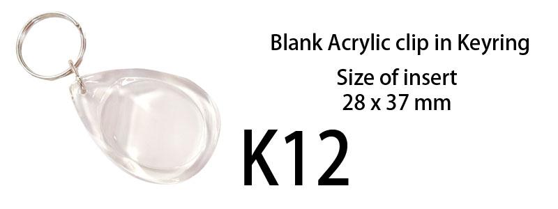 Blank Acrylic Keyring (28mm X 37mm) Teardrop