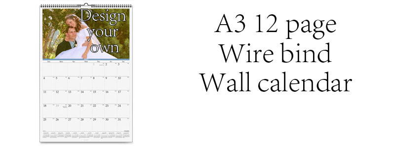 A3 Calendar, wire bound, 12 pages