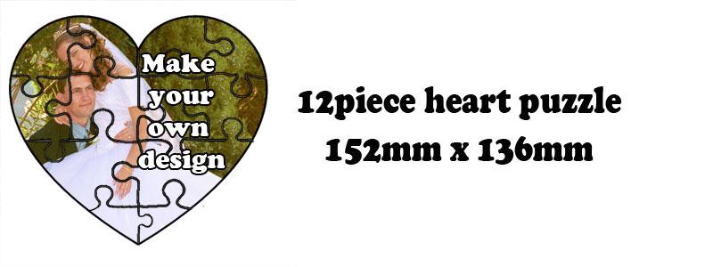 12 Piece Heart shape Jigsaw puzzle