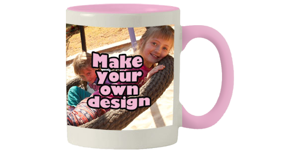 Printed Pink inner white mug with print