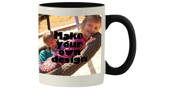 Printed Black inner white mug with print