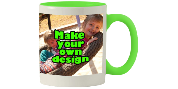 Printed Lime Green inner white mug with print