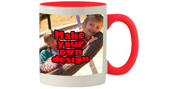 Printed Red inner white mug with same print