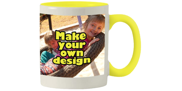 Printed Yellow inner white mug with print
