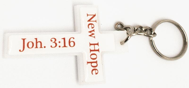 Printed Perspex Keyring (Cross)