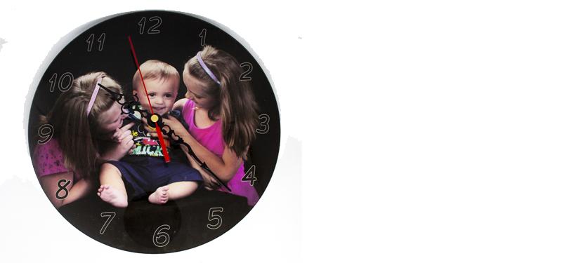 Printed  Clock (Clear Perspex 25cm)